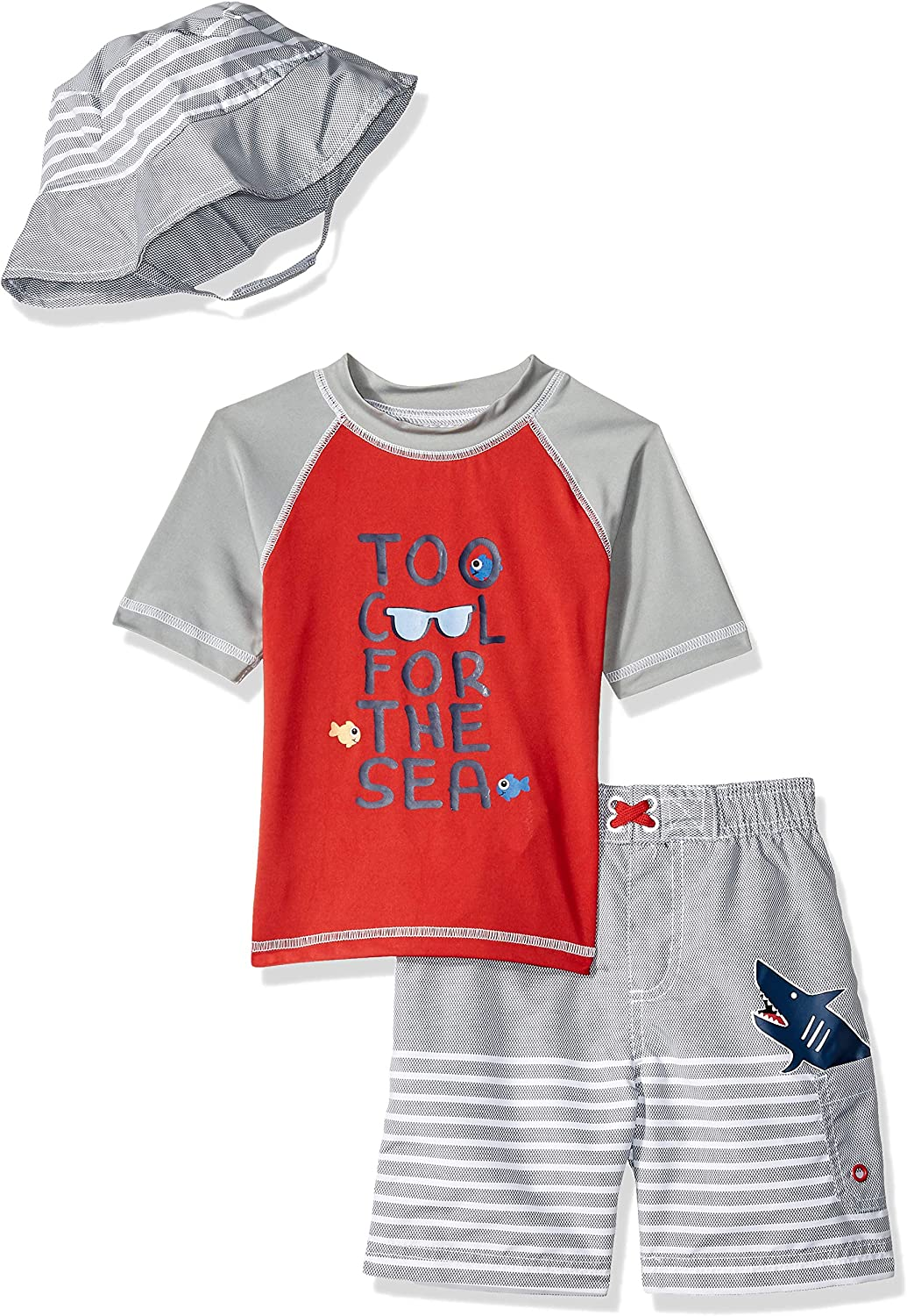 Wippette Boys Toddler Short Sleeve Rashguard Set with Hat