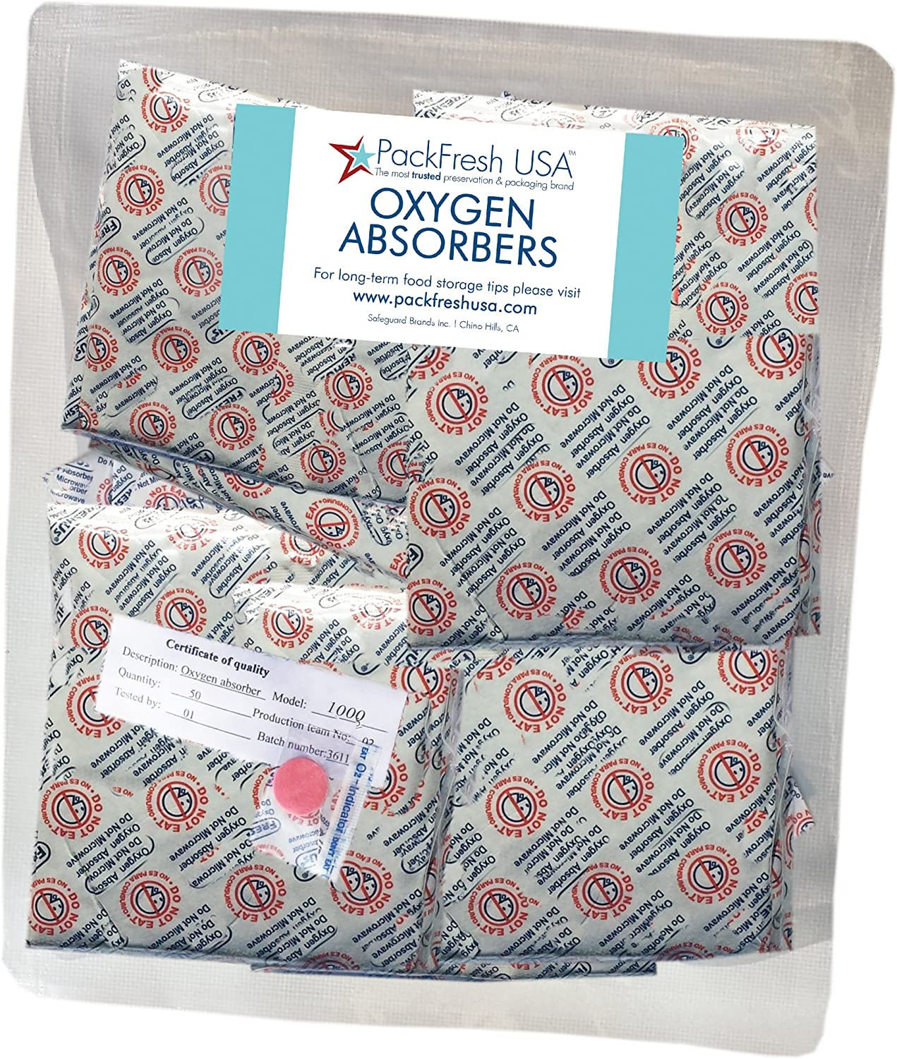1000cc Oxygen Absorbers for Long Term Food Storage - 50 with PackFreshUSA LTFS Guide