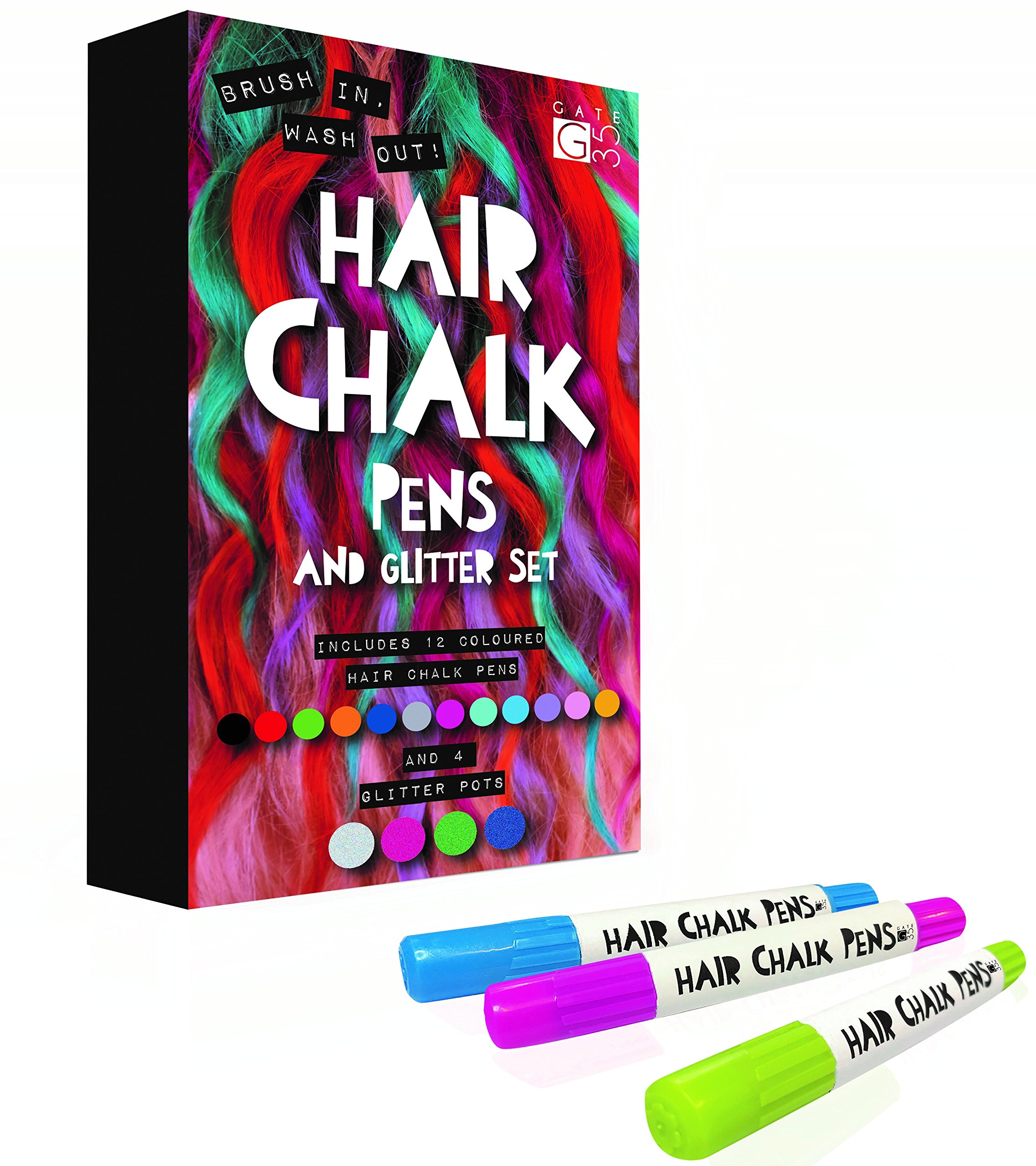 Hair Chalk Pens and Glitters - 12 Chalks and 4 Glitters - Deluxe Set 10