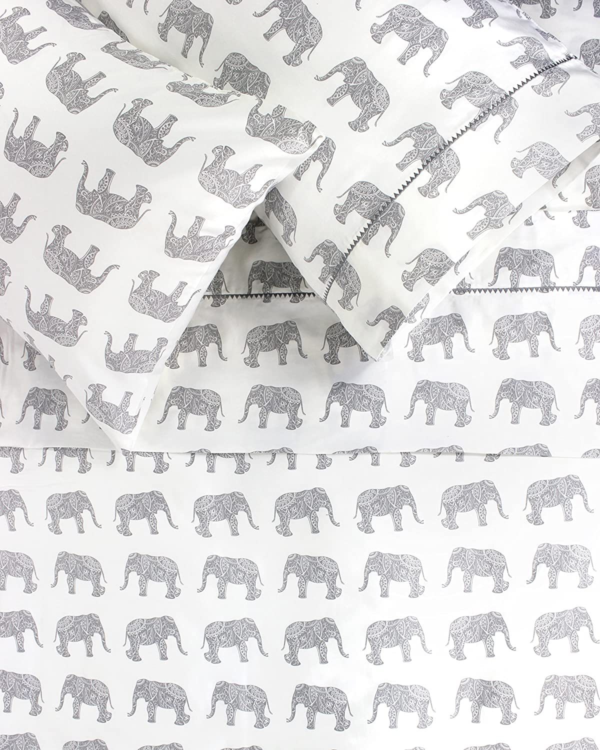Melange Home 400TC Series Elephants Sheet Set, Queen, Gray