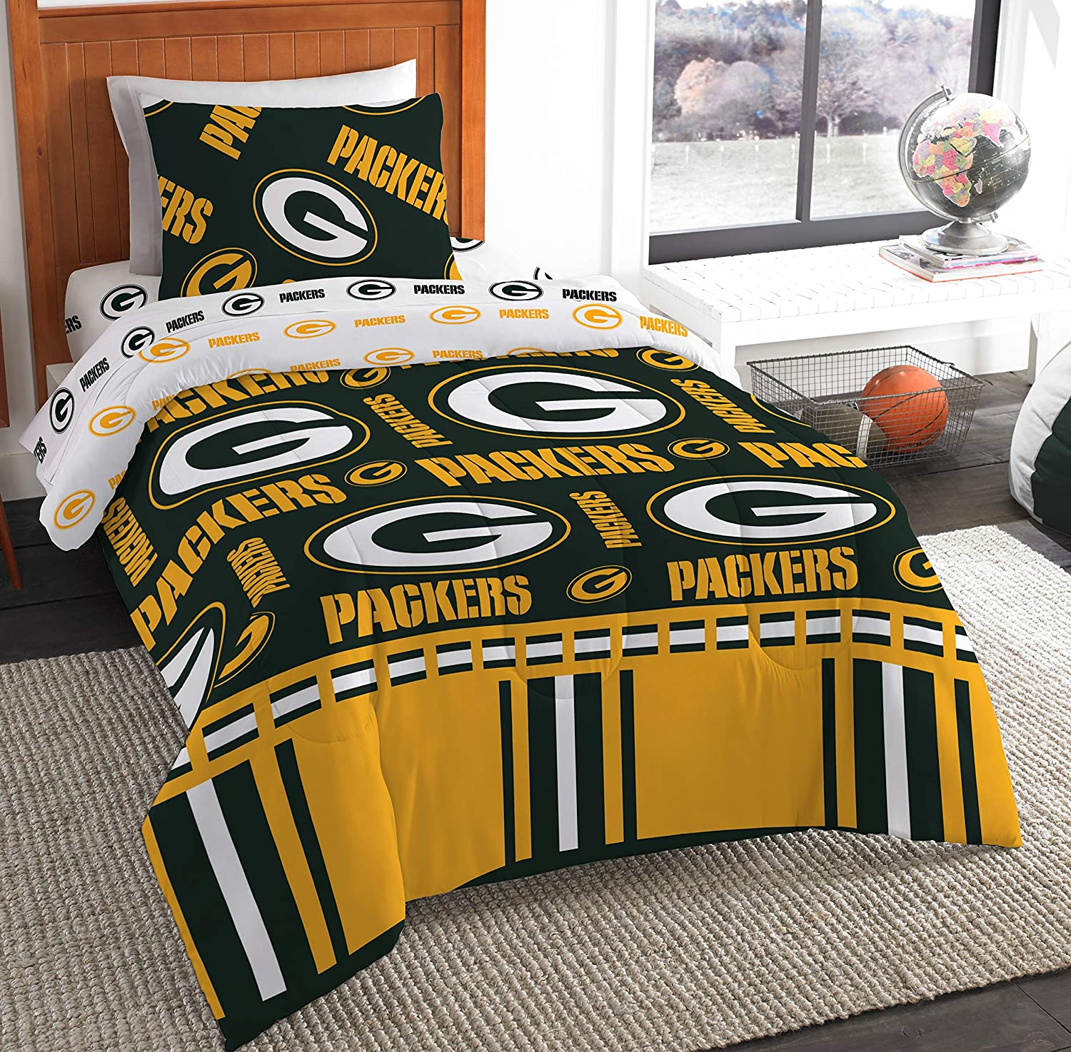 The Northwest Company NFL Green Bay Packers Twin Bed in a Bag Complete Bedding Set #225204722