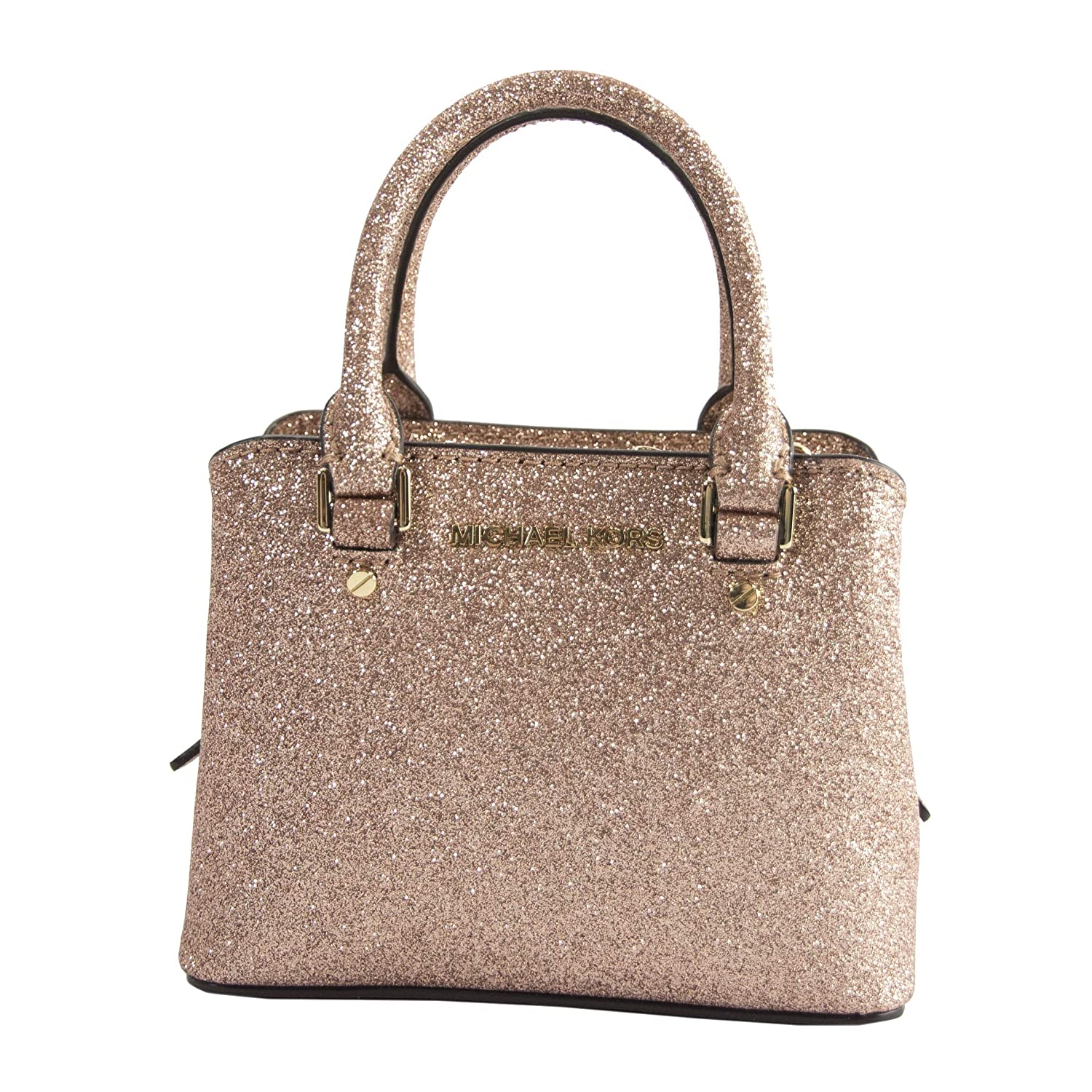 56ee92562f33b Michael Kors Rose Gold Glitter Leather MICRO MINI Savannah Satchel Bag  Wallet  Handbags  Amazon.com
