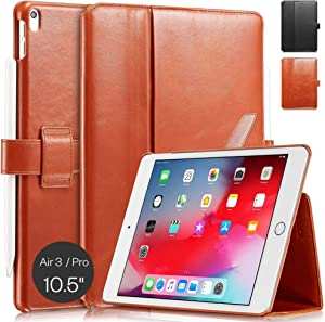"""KAVAJ Case Leather Cover London Works with Apple iPad Air 3 2019 & iPad Pro 10.5"""" Cognac-Brown Genuine Cowhide Leather with Pencil Holder Supports Apple Pencil Slim Fit Smart Folio"""