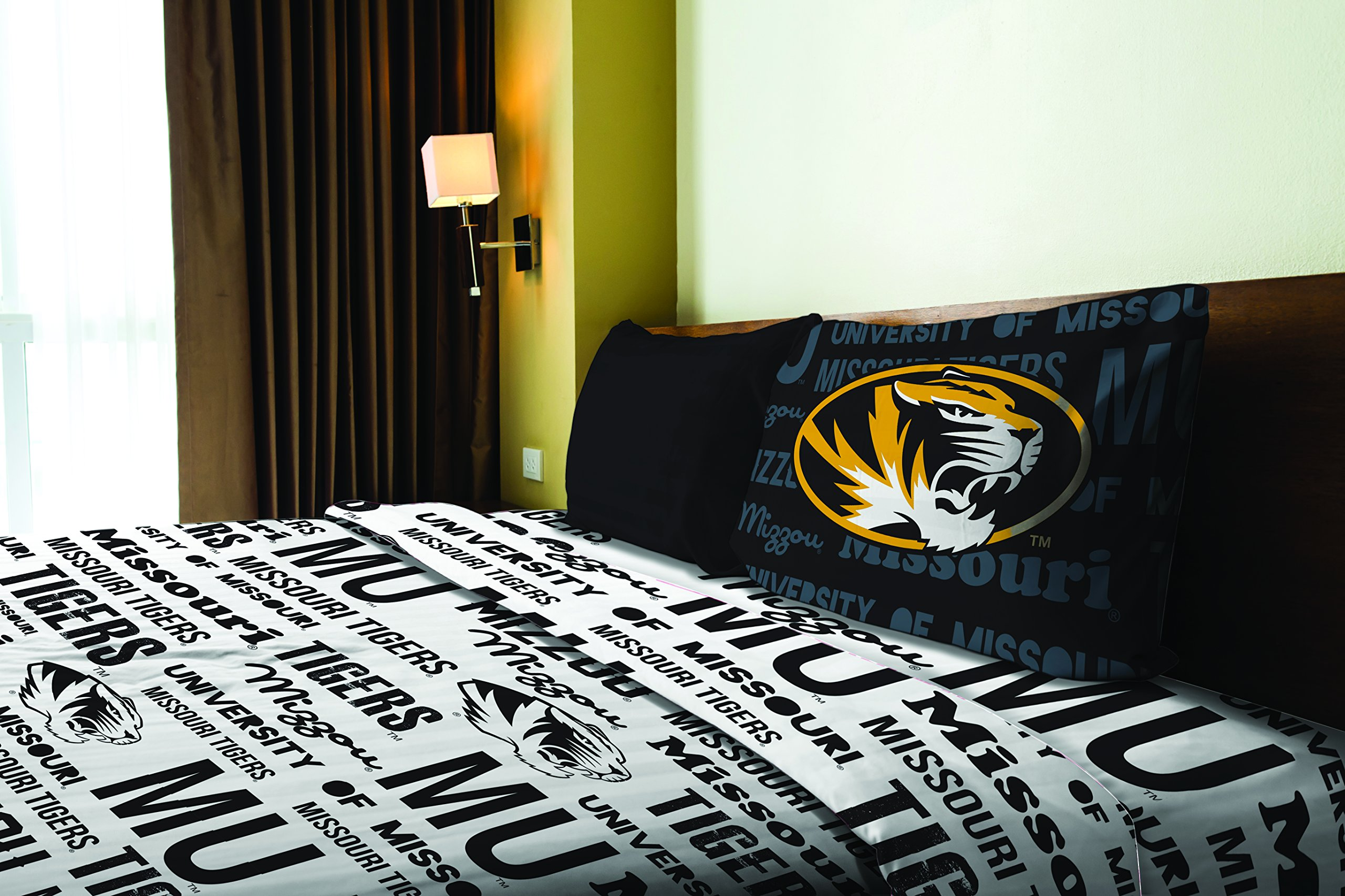 Missouri OFFICIAL Collegiate, Bedding, Anthem Twin Sheet Set (1 Flat 66 x 96, 1 Fitted 39 x 75 + 12 pocket, and 1 Pillowcase 20 x 30)