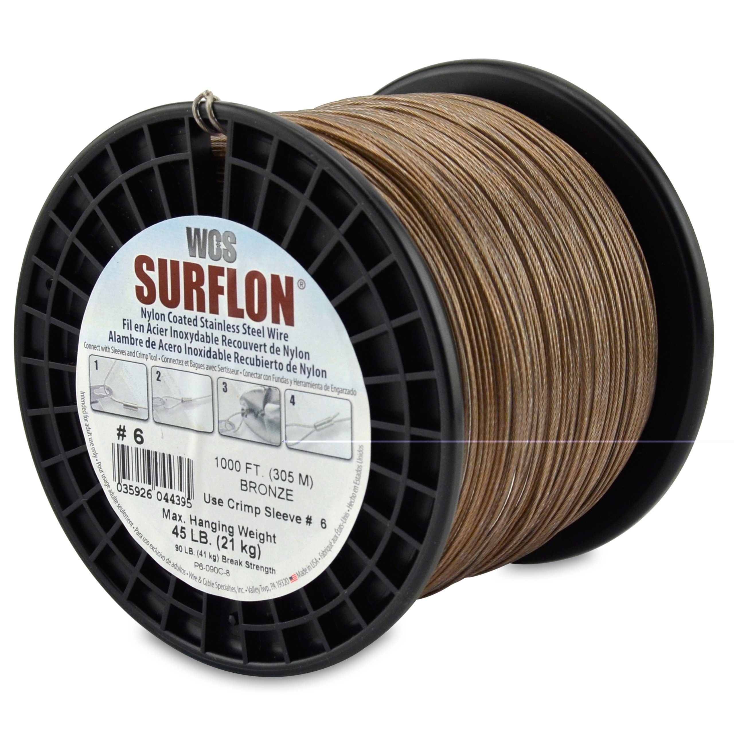 Surflon Size 6 - 45-Pound Break 1000-Feet Crimping Picture Wire Nylon Coated Stainless Steel, Bronze