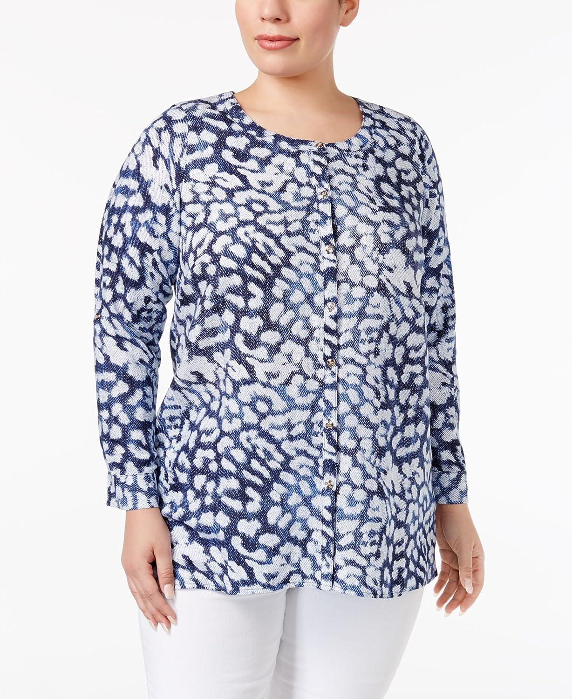 JM Collection Plus Size Linen Animal-Print Tunic OX (Multicolored) at  Amazon Women s Clothing store  c55657c5c