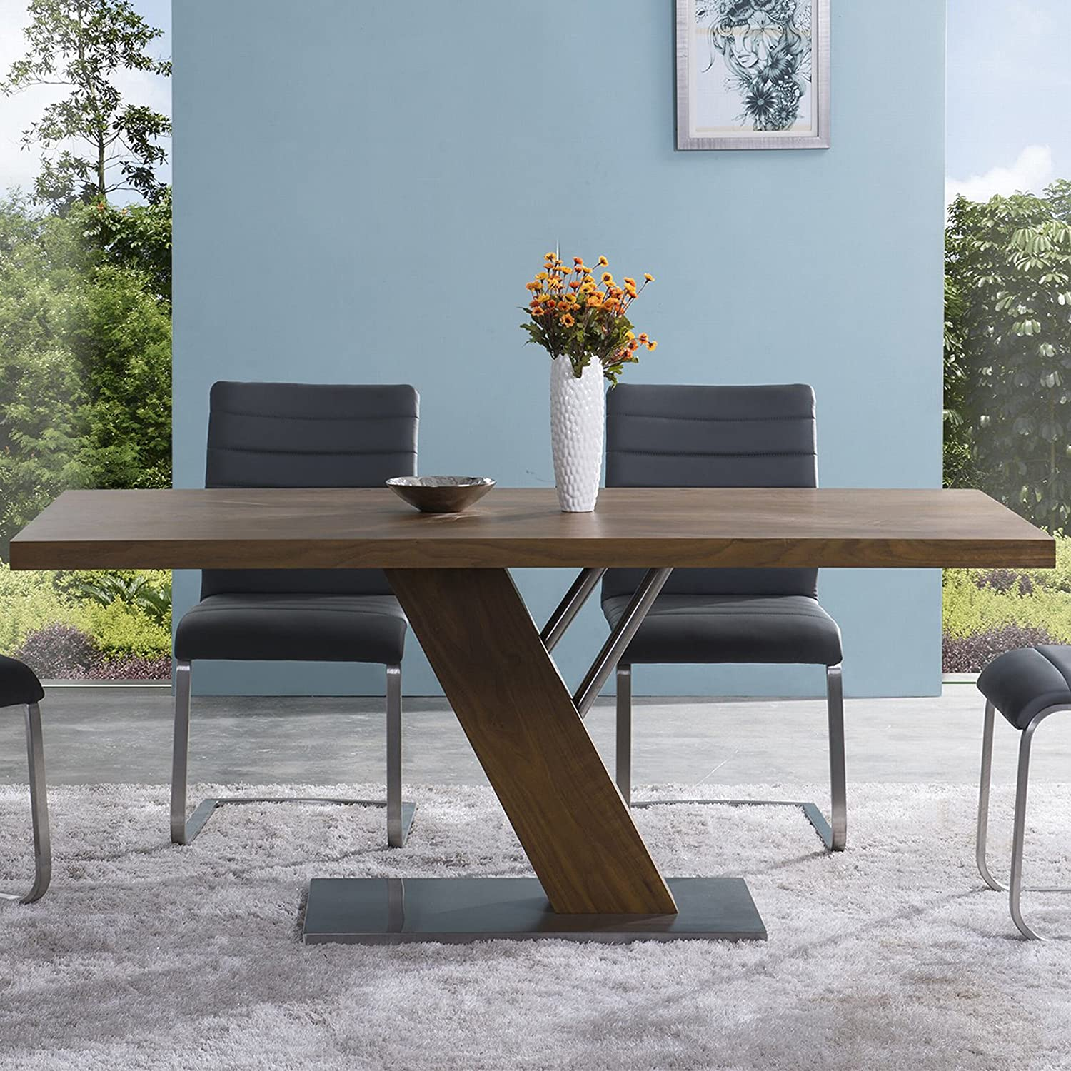Armen LivingFusion Contemporary Dining Table In Walnut Wood Top and Stainless Steel, Brown