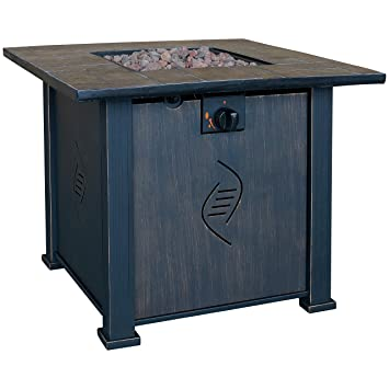 Beautiful Bond Lari Outdoor Gas Fire Pit Table With Antique Wooden Finish,  24.2 Inches By