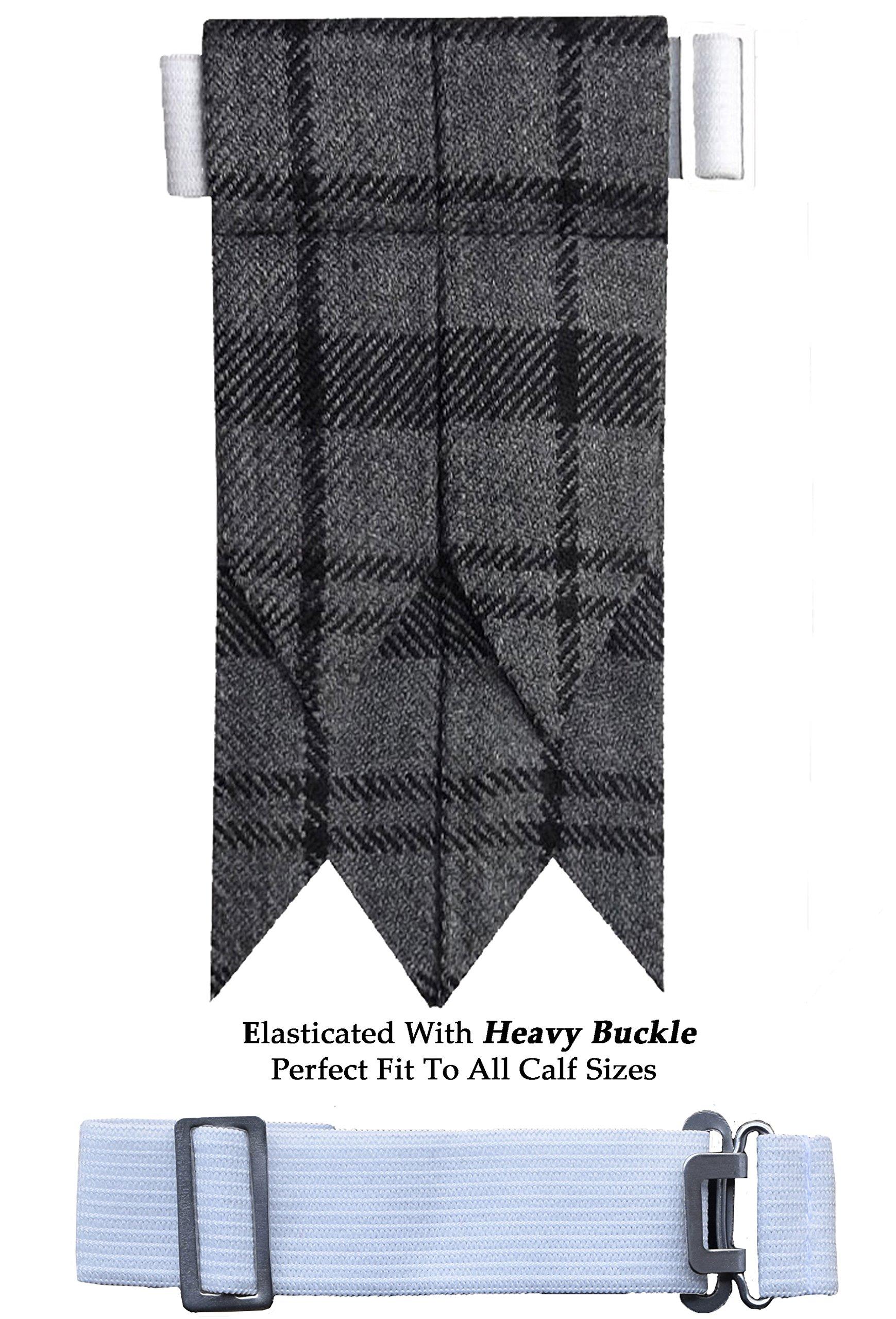 New Solid Plain Black, Royal Stewart Tartan Many More Kilt Flashes Multi Colors (Hamilton Grey)