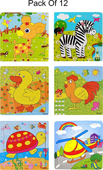 Akrobo Wood Jigsaw Puzzles for Children- Pack of 12 Different Patterns with 9 Piece Puzzle in a Frame Board ( Random Design )