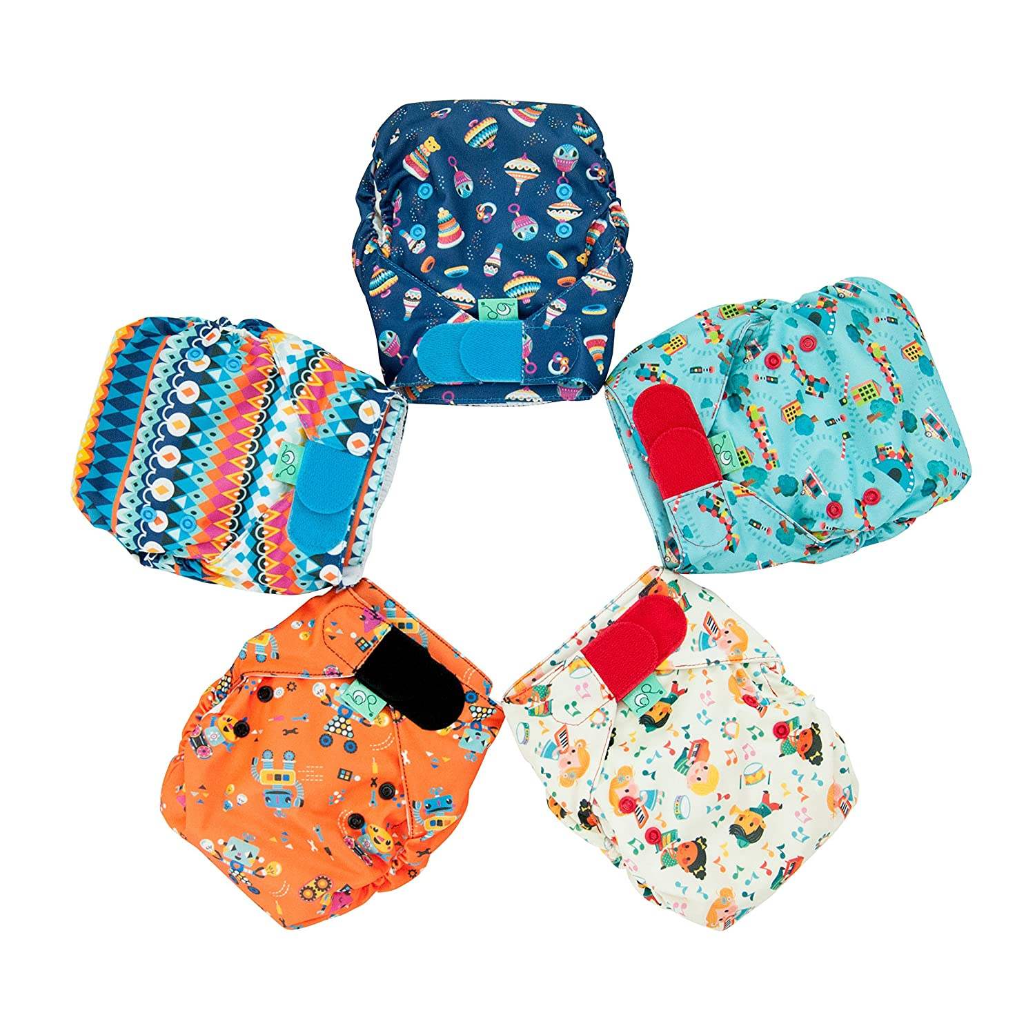 TotsBots Easyfit Star 5 Pack of Print Mix Reusable Washable Nappies Tots Bots Limited 5060510760776