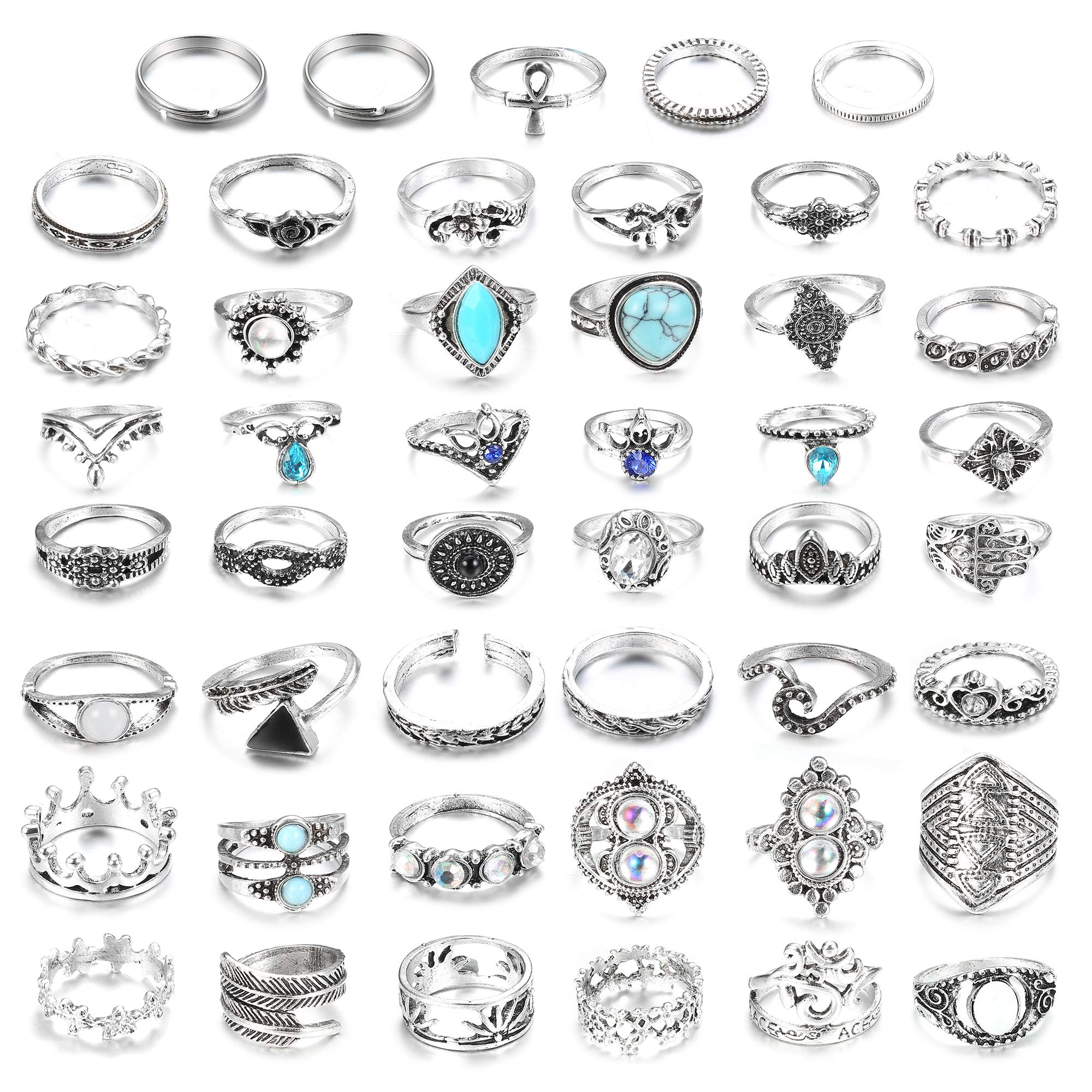 LOLIAS 46 Pcs Vintage Knuckle Ring Set for Women Girls Stackable Rings Set Hollow Carved Flowers (A1:46 Pcs a Set) by LOLIAS