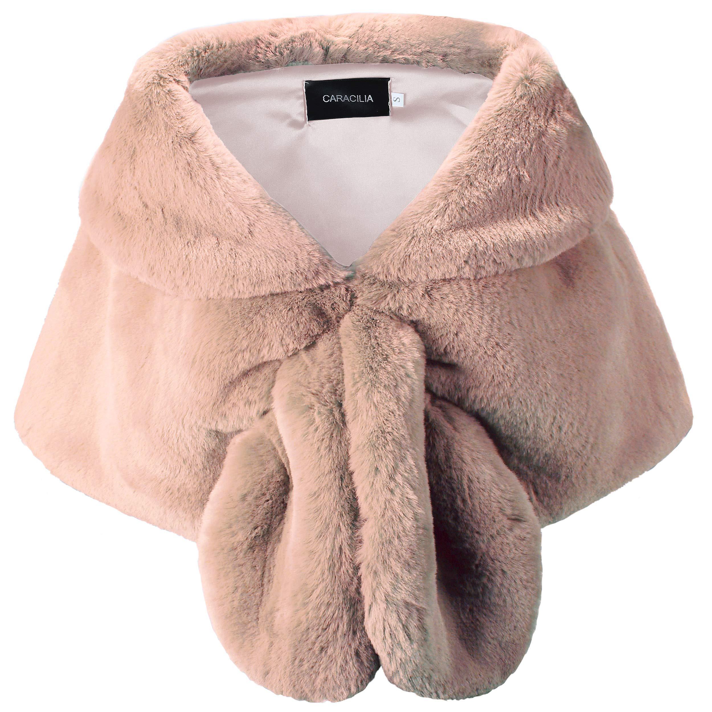 Caracilia Faux Fur Shawl Wrap Stole Shrug Winter Bridal Cover Up oufen2 L CA95
