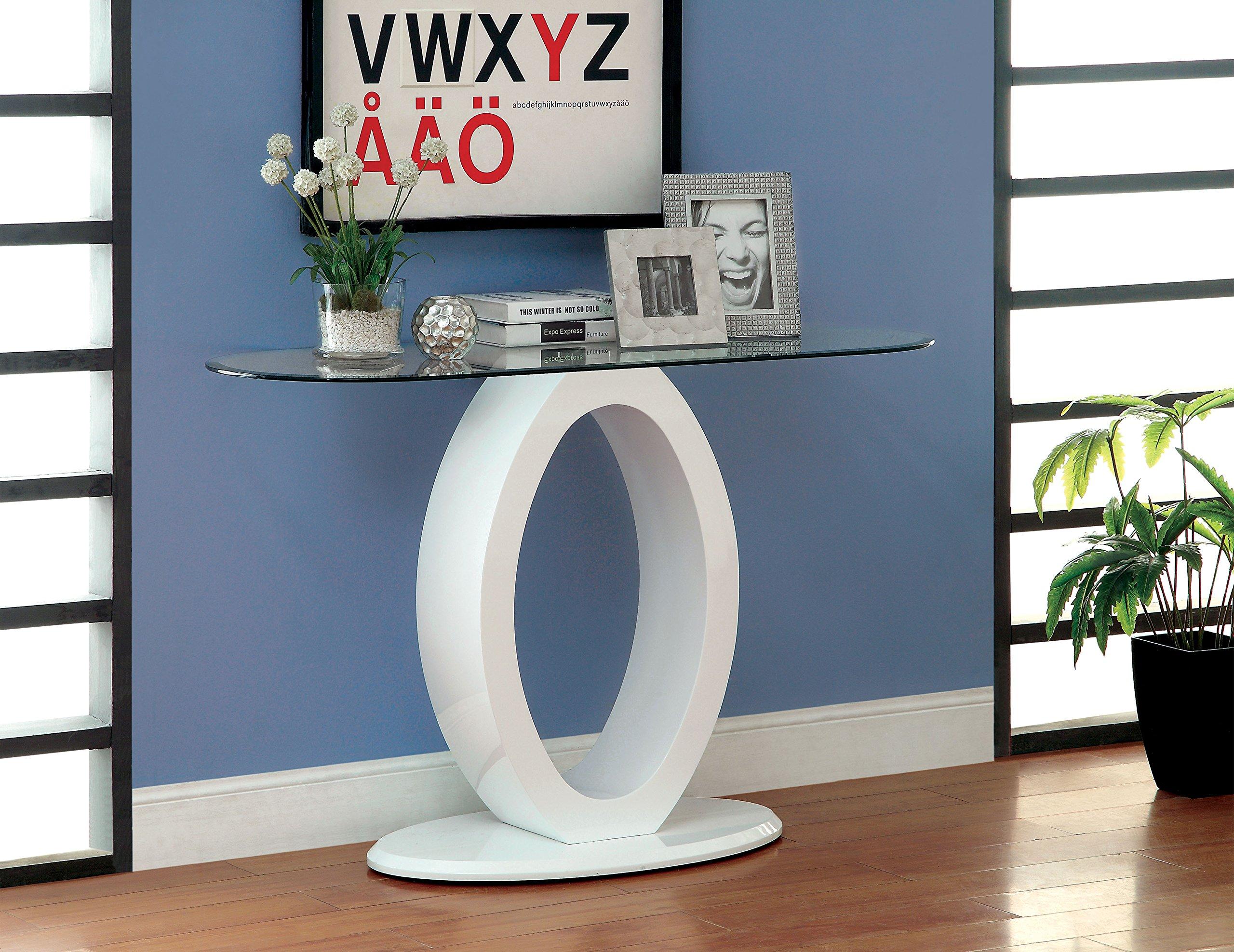 Furniture of America Modine Contemporary Glass Top Sofa Table, White by Furniture of America