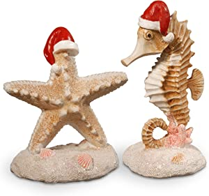 National Tree Pine Set of 2-7 Inch Seahorse and Starfish Décor