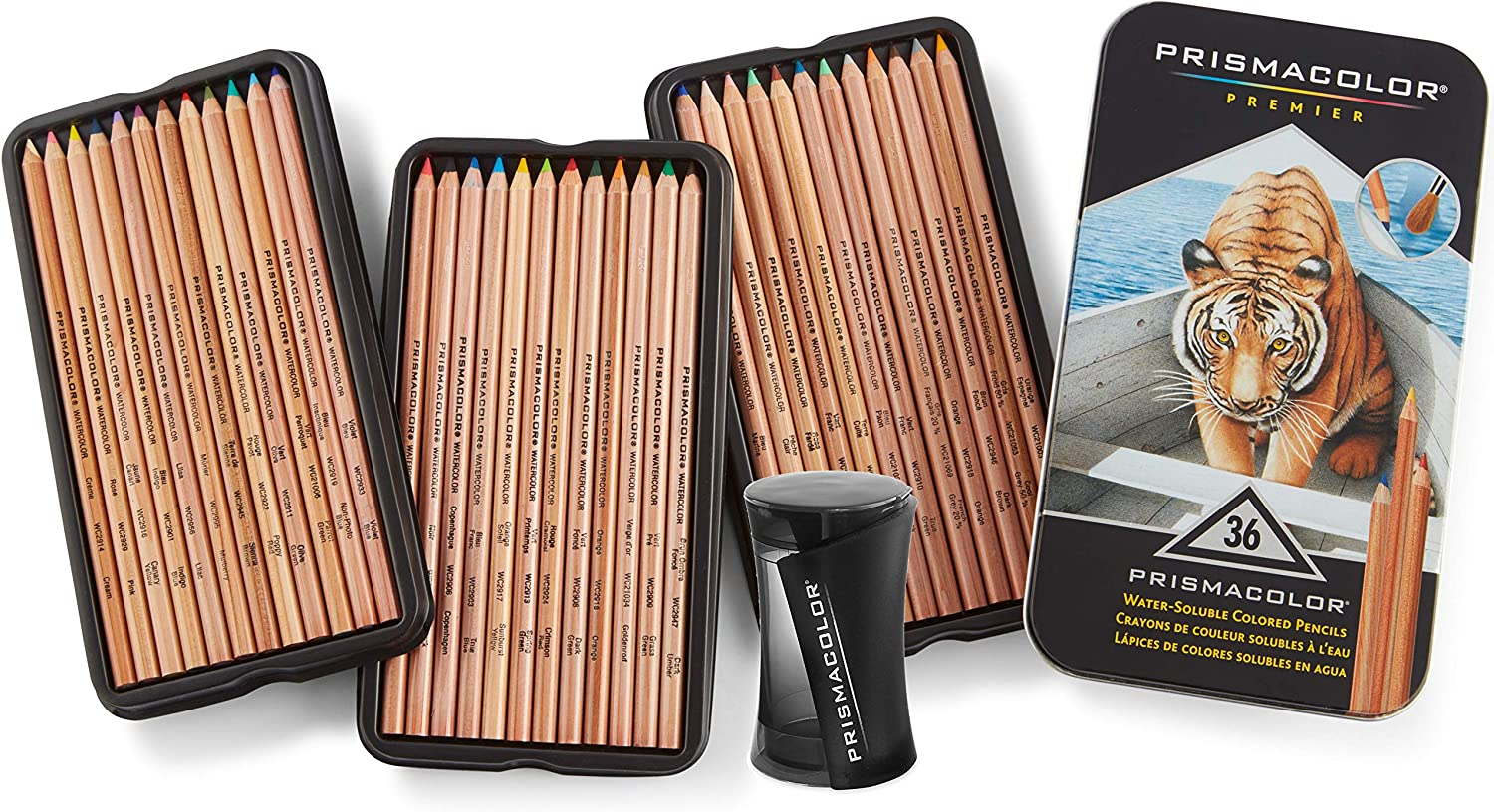 Prismacolor Premier Water-Soluble Colored Pencils, 36 Pack with Pencil Sharpener