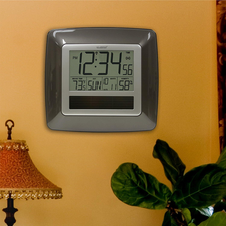 La Crosse Technology WT-8112U Solar At-mica reloj de pared digital con cubierta Temp-Humedad: Amazon.es: Electrónica