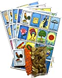 Jumbo Loteria Mexicana Family Mexican Bingo Game with 100 Plastic Coins, 80 Chips, 20 Jumbo Boards and 1 Playing Cards Deck Bundle