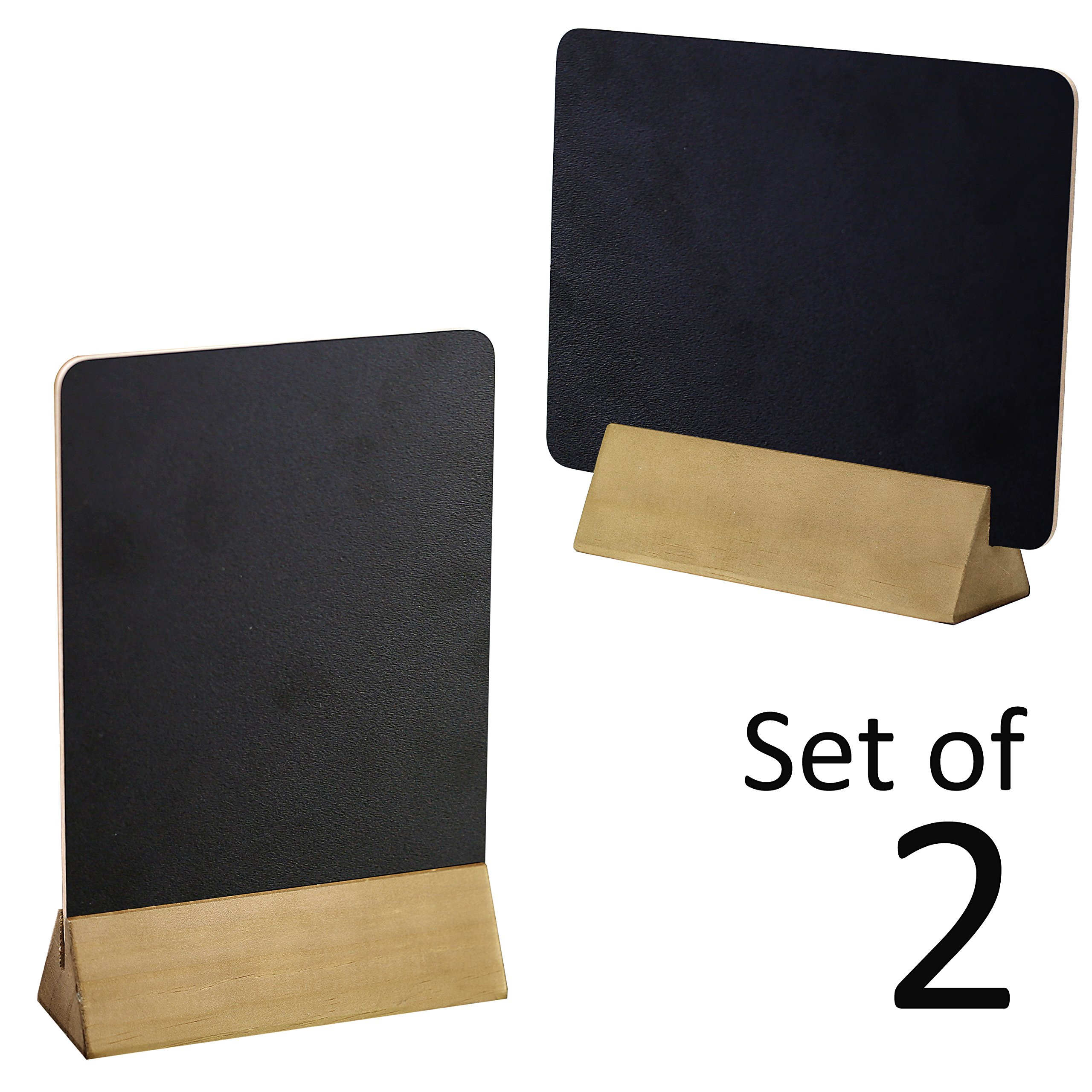 Set Of 2 Tabletop Double Sided Chalkboard Display Sign / Placeholder With  Wooden Base Stand,