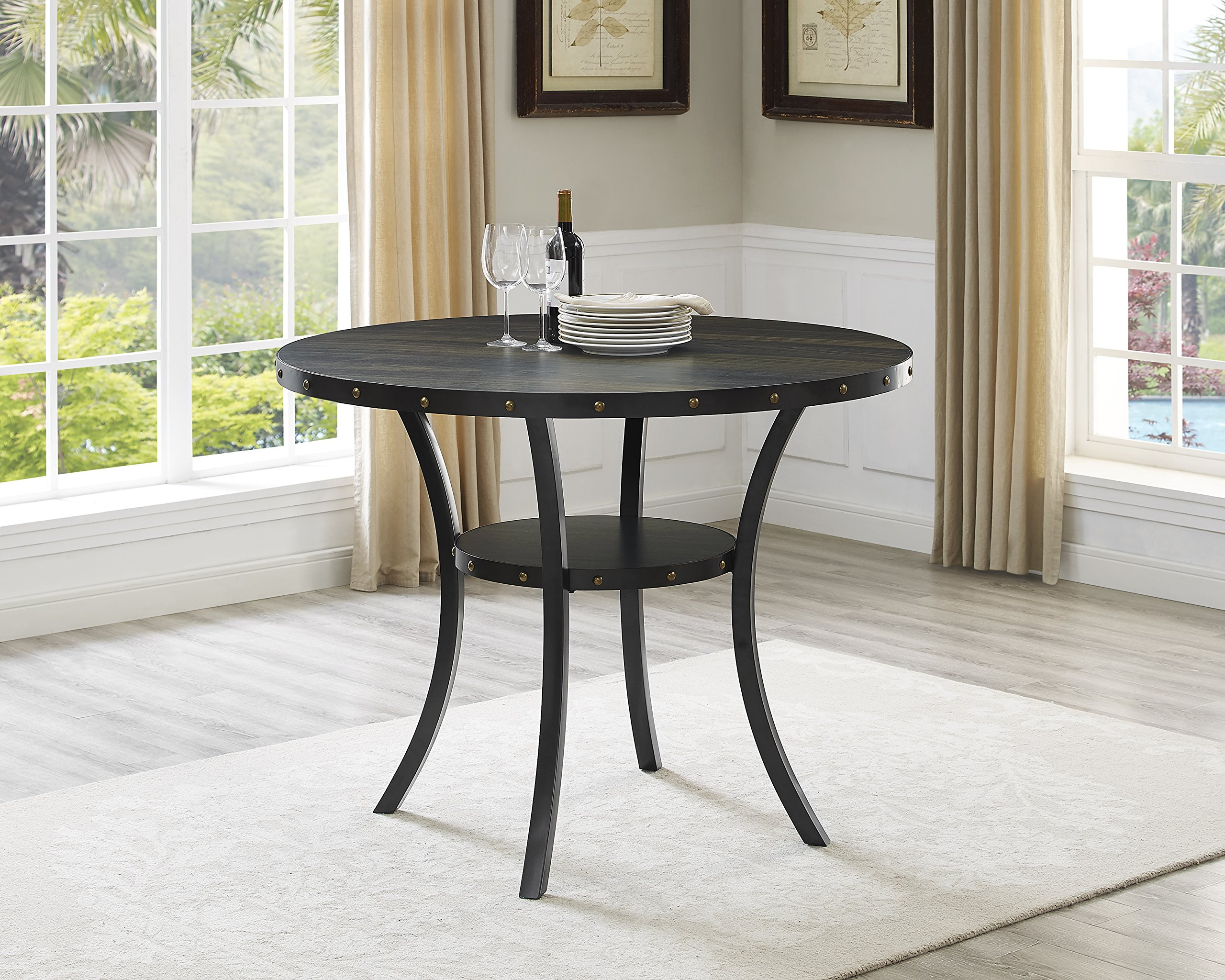 Roundhill Furniture PT162 Biony Dining Collection Counter Height Table, Round Dining Table