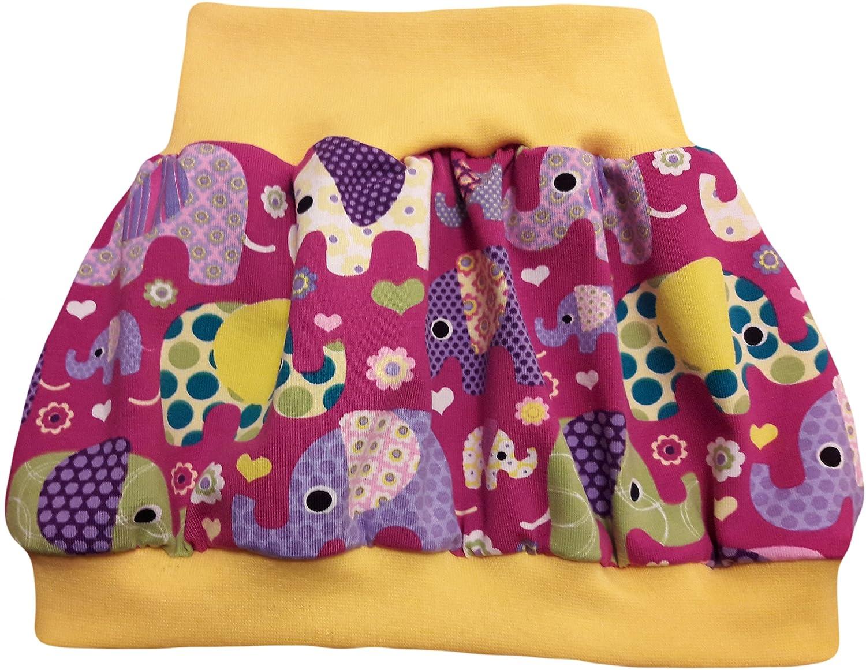 Baby Babyrock Ballonrock Bunte Elefanten Fuchsia mit gelbem Bündchen
