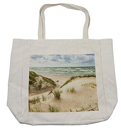 Amazon com - Lunarable Beach Shopping Bag, Windy Day in The