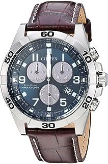 Citizen Mens Eco-Drive Titanium Quartz Leather Calfskin Strap, Brown, 24 Casual Watch