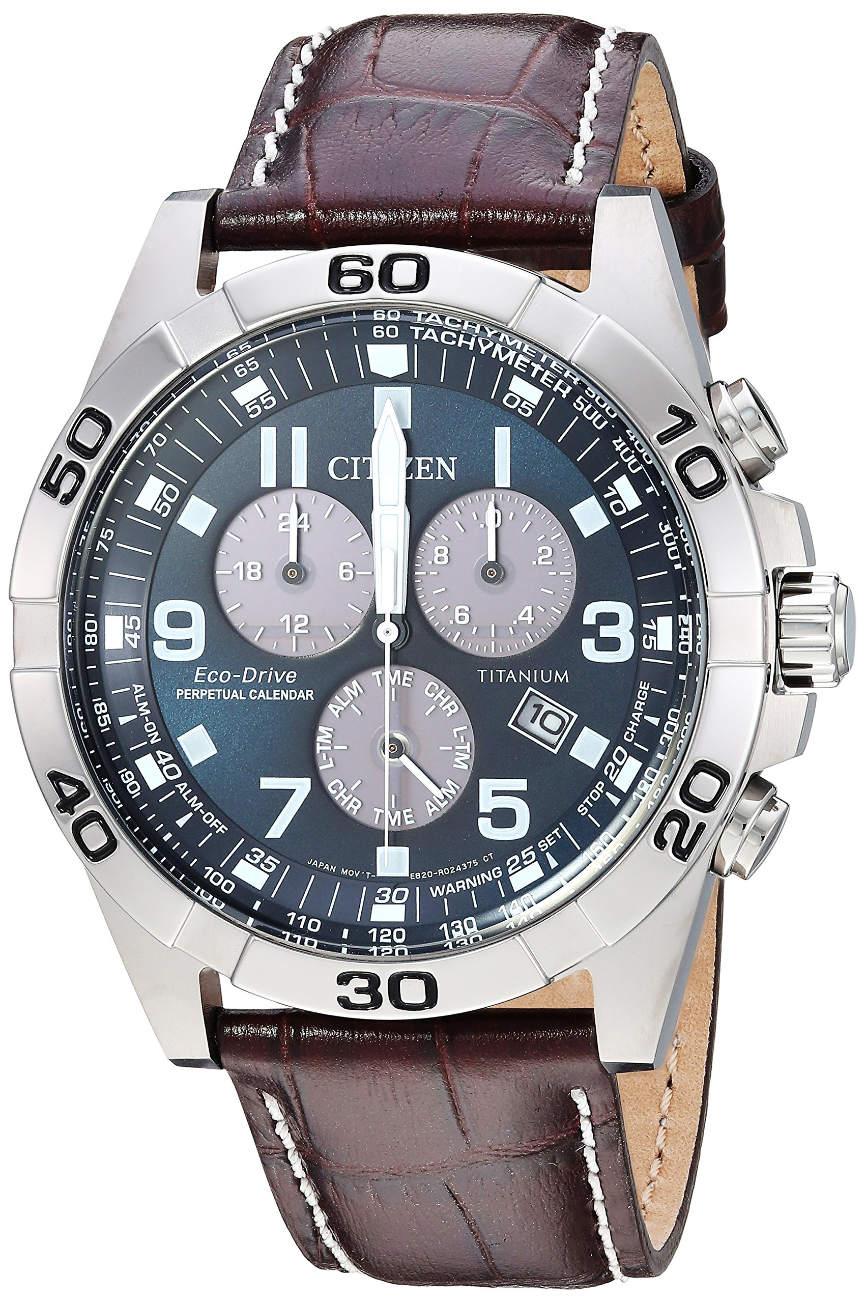 Citizen Men's Eco-Drive Titanium Quartz Brown Leather Calfskin Strap Casual Watch (Model: BL5551-06L)