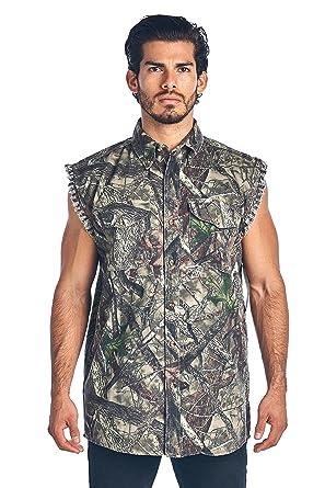 1b237ce138e Men s Made in USA True Timber Sleeveless Denim Shirt Camo Vest  Green  (Medium)
