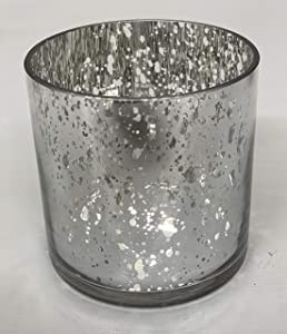 """Floral Supply Online - 4"""" Tall x 4"""" Wide, Silver Mercury Glass - Speckled Metallic Cylinder Vase for Rustic Weddings, Events, Decorating, Arrangements, Flowers, Office, or Home Decor."""