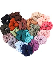 WATINC 20Pcs Chiffon Solid Color Hair Scrunchies Set for Women, Strong Hold Bobbles Hair Ties, Elastics Bands Ponytail Holder, Traceless Hair Ring, No Crease Hair Rope Accessories