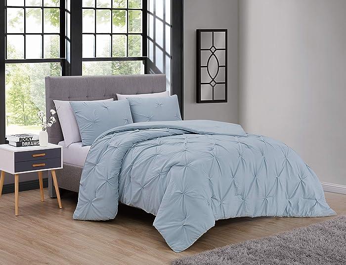 Geneva Home Fashion Belen Soft Washed 3pc Super Soft Pinch Pleat Comforter Set - King - Blue, BNE3CSKINGTJBL
