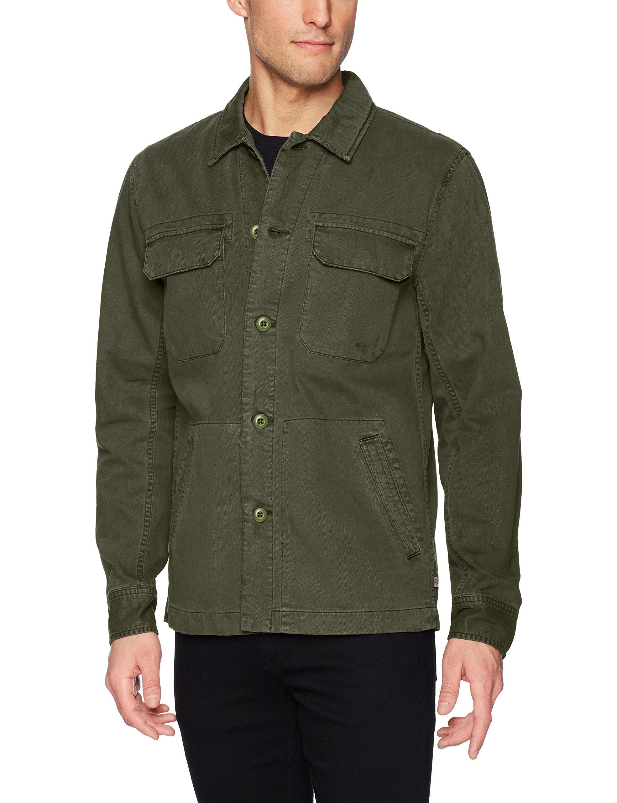 AG Adriano Goldschmied Men's Marx Cotton Herringbone Long Sleeve Field Jacket, Years Pigment Desert Pine, S