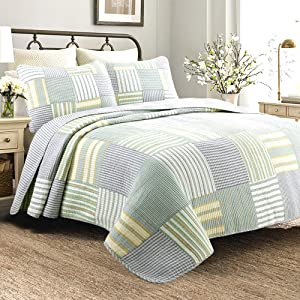 Cozy Line Home Fashions Sienna Green Yellow Blue Plaid Striped Patchwork 100% Cotton, Reversible Coverlet, Bedspread, Quilt Bedding Set for Women, Men(Green Patchwork, Queen -3 Piece)