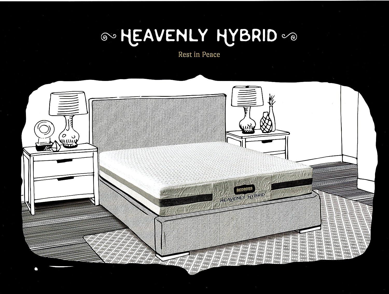 """Bed Boss Heavenly Hybrid Gel Memory Foam Mattress 9"""" BB0950, Queen Mattress, Two 2 Superb Gel Memory Foam Pillows, 10 Year Warranty, White, Medium Firm"""