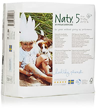 Branded Naty, ECO By Naty Diapers , Size 5, Weight 27lbs - Branded Diapers