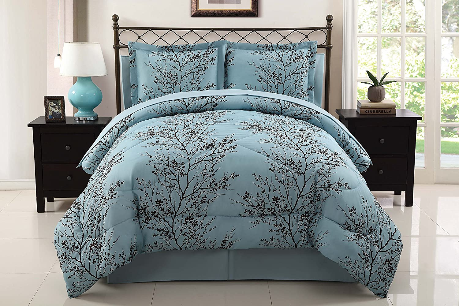 amazon com vcny leaf 8 piece bed in bag set king blue chocolate amazon com vcny leaf 8 piece bed in bag set king blue chocolate home kitchen