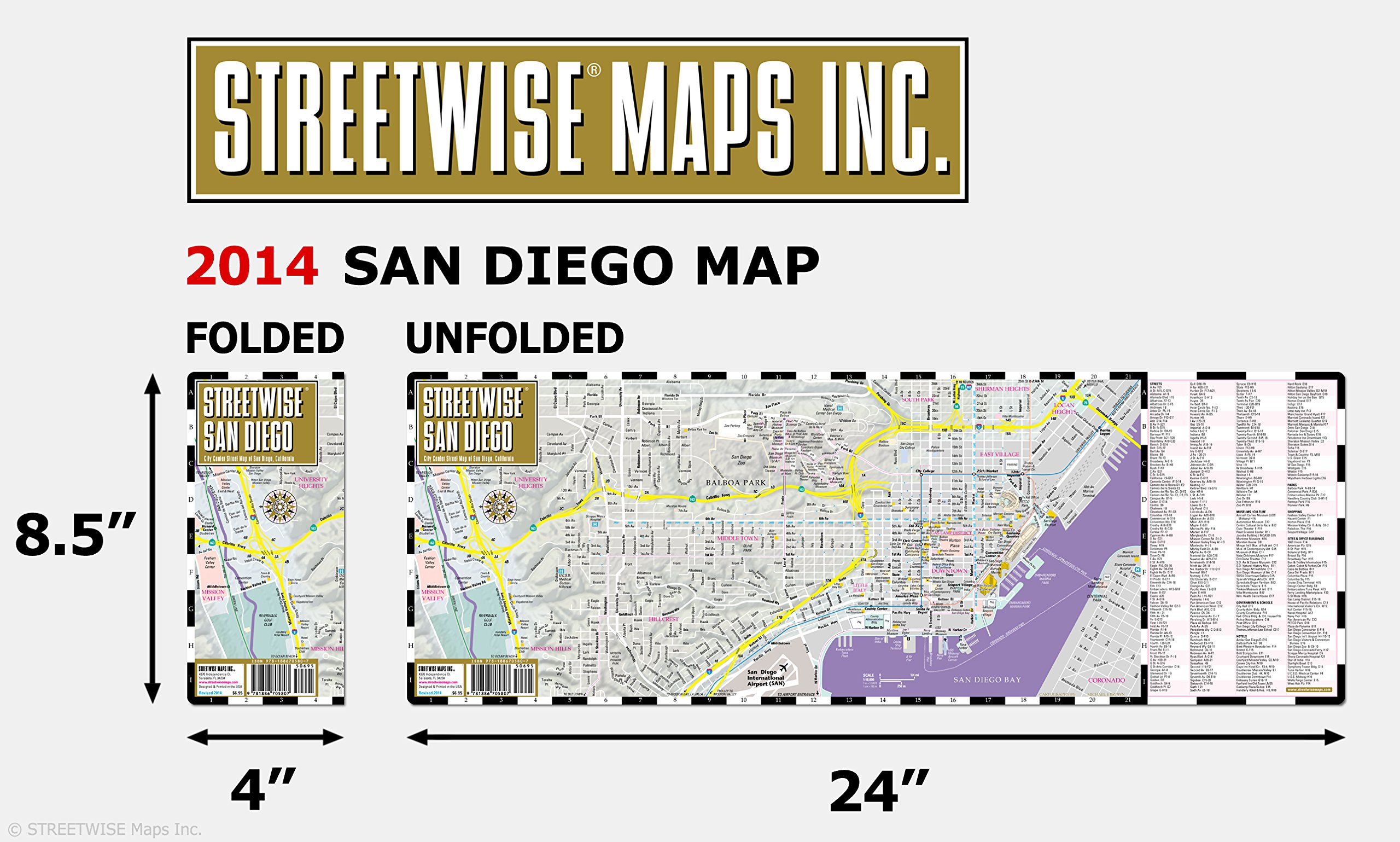 Streetwise San Diego Map Laminated City Center Street Map Of San Diego California Folding Pocket Size Travel Map With Trolley Lines Streetwise Maps