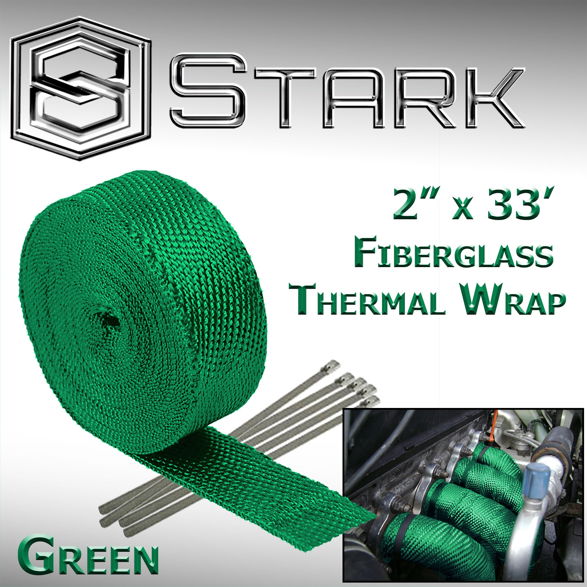 Stark Thermal Wrap 2'' Wide x 33' Long - Fiberglass Heat Shield Exhaust Manifold/Header Wrap - Green