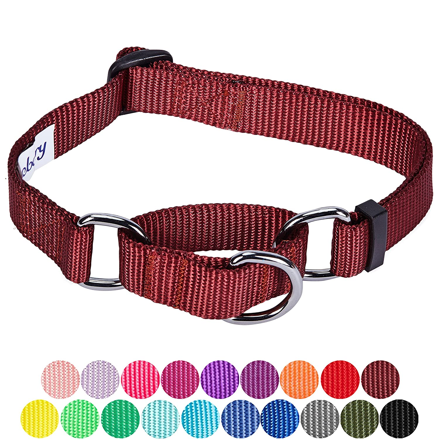 Small Blueberry Pet Safety Training Martingale Dog Collar Emerald Heavy Duty Nylon Adjustable Collars for Dogs