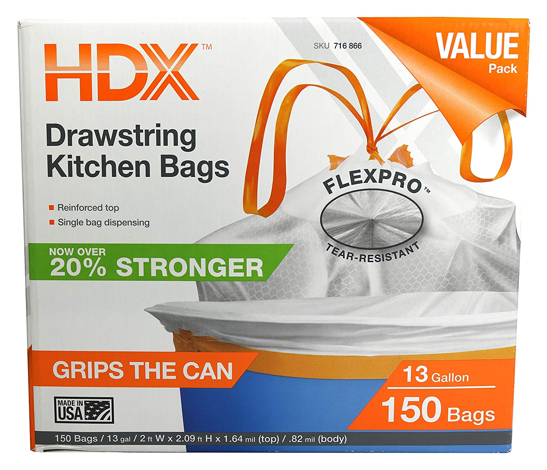 Amazon.com: HDX 716866 13-Gallon Drawstring .9 Mil Tear Resistant ...