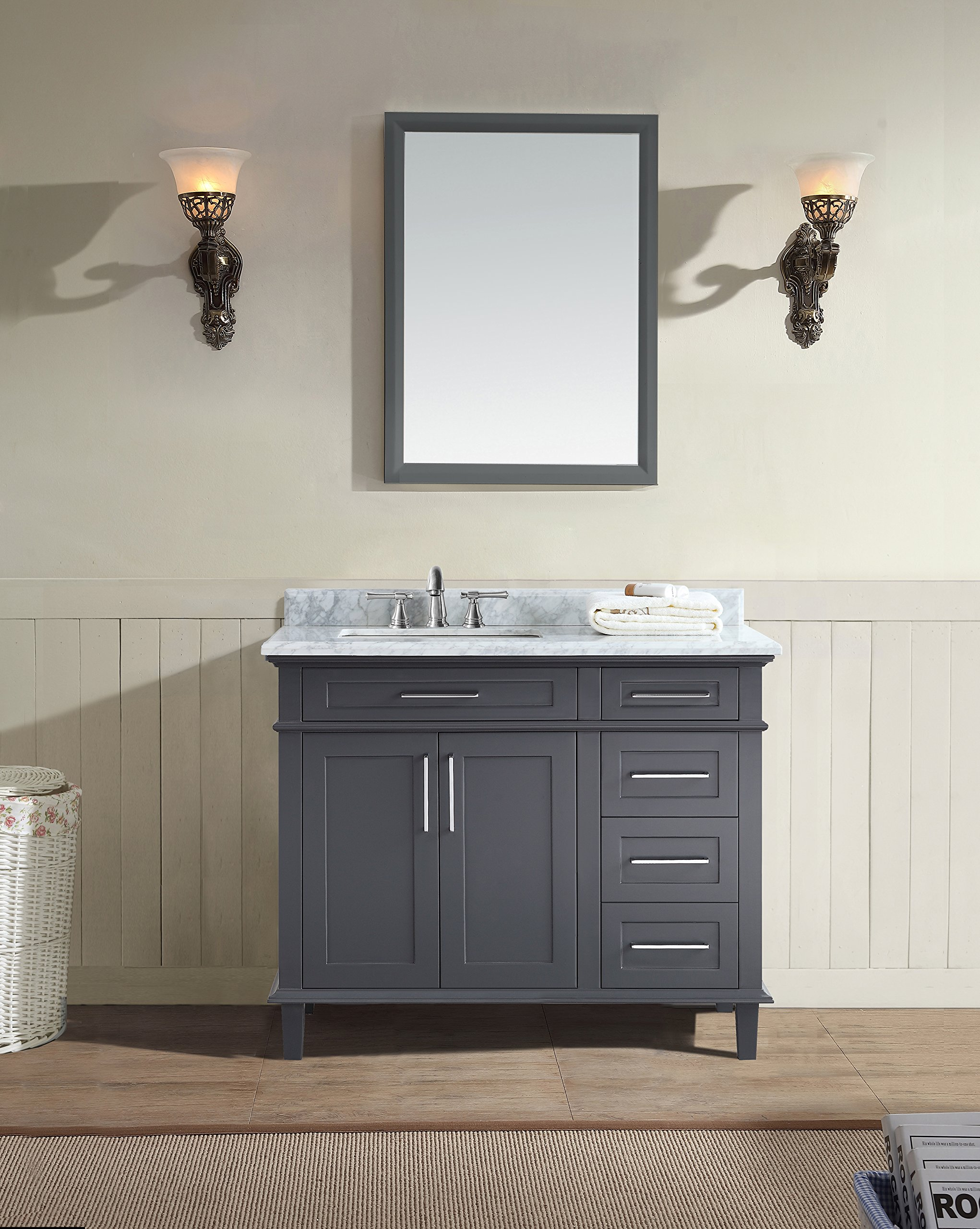 "Ari Kitchen and Bath AKB-NEWPORT-42-CHAR Newport Bathroom Vanity Charcoal Gray, 42"" W x 22"" D x 34.5"" H - Solid hardwood Construction Handcrafted Furniture - tenon and mortise Construction to lasts a lifetime. Full extension soft-closing drawers and doors - bathroom-vanities, bathroom-fixtures-hardware, bathroom - 91ZcVj7TQqL -"