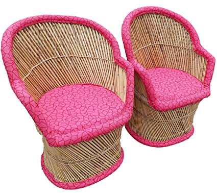 PatioStack Bamboo Leather Handicraft Outdoor Rattan & Wicker Sitting Chairs Furniture Set for Garden / Terrace / Lawn / Balcony / Restaurant / Cafe / Living Room / Drawing Room [ 2 Pink Chairs, Size :18*18*34 ]