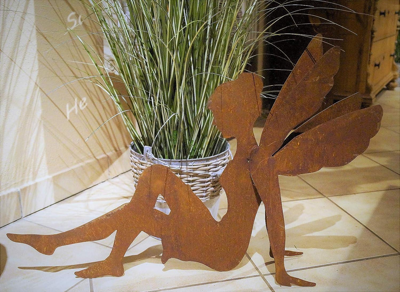 Herz 8x6cm Gartendekoration Fabelwesen Fl/ügel inkl Dekost/überl Rostalgie Edelrost Fee Fabiola sitzend 70x50cm
