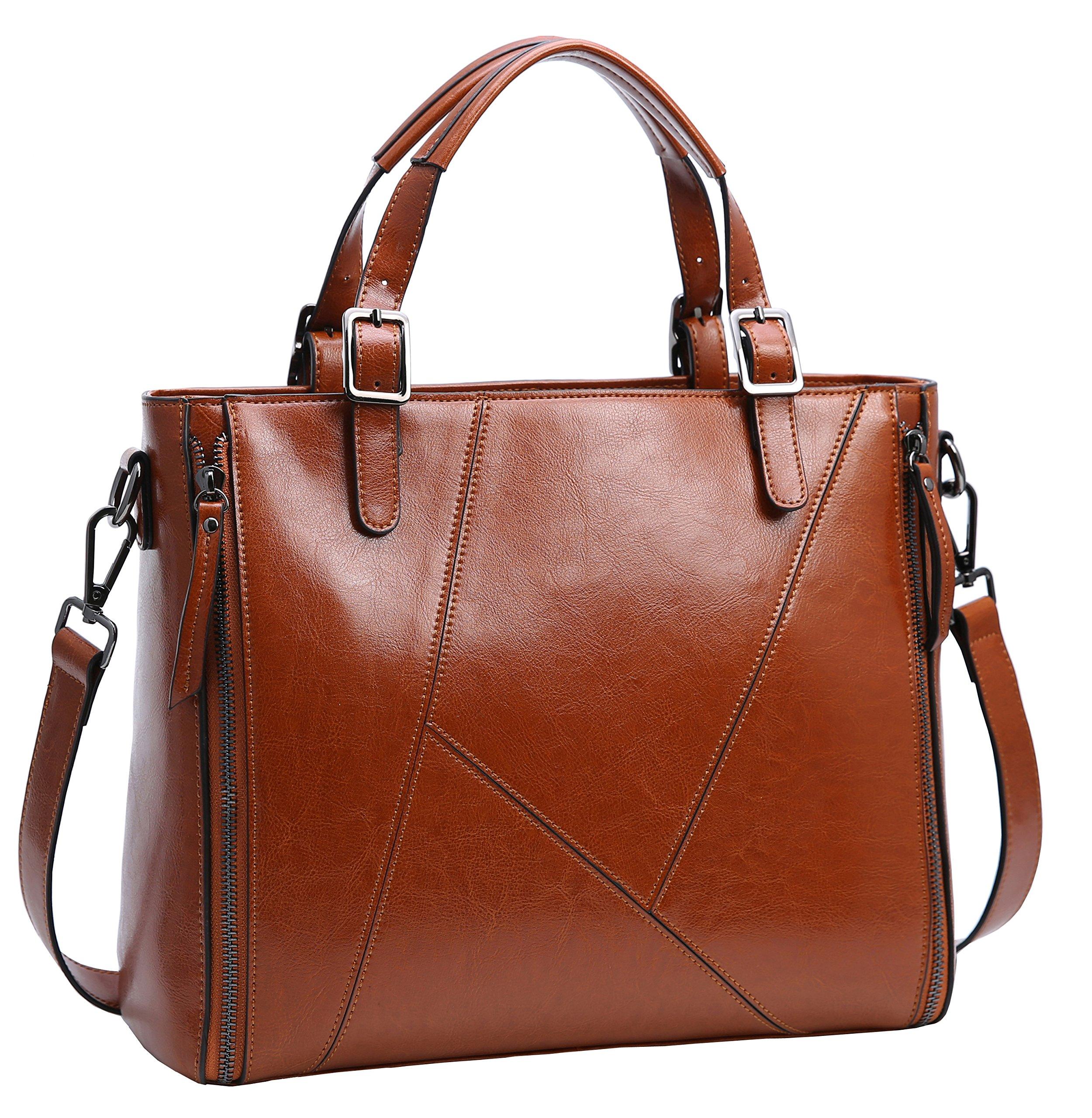 Iswee Women's Genuine leather Handbag Urban Style Tote Top Handle Shoulder Bag Vintage Satchel Purse (Brown-08)