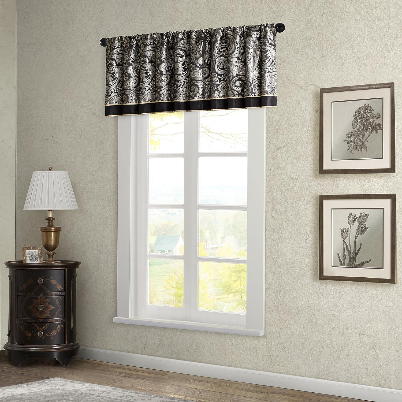 Madison Park Aubrey Jacquard Window Valance Black 50x18