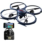 UDI U818A Wifi RC Quadcopter Drone for Beginners: Best RTF UAV Toy with 2.4GHz HD Camera & FPV Video- Headless Mode, 6 Axis Gyro, VR Headset Compatibility- BONUS 2 Batteries Included - Blue
