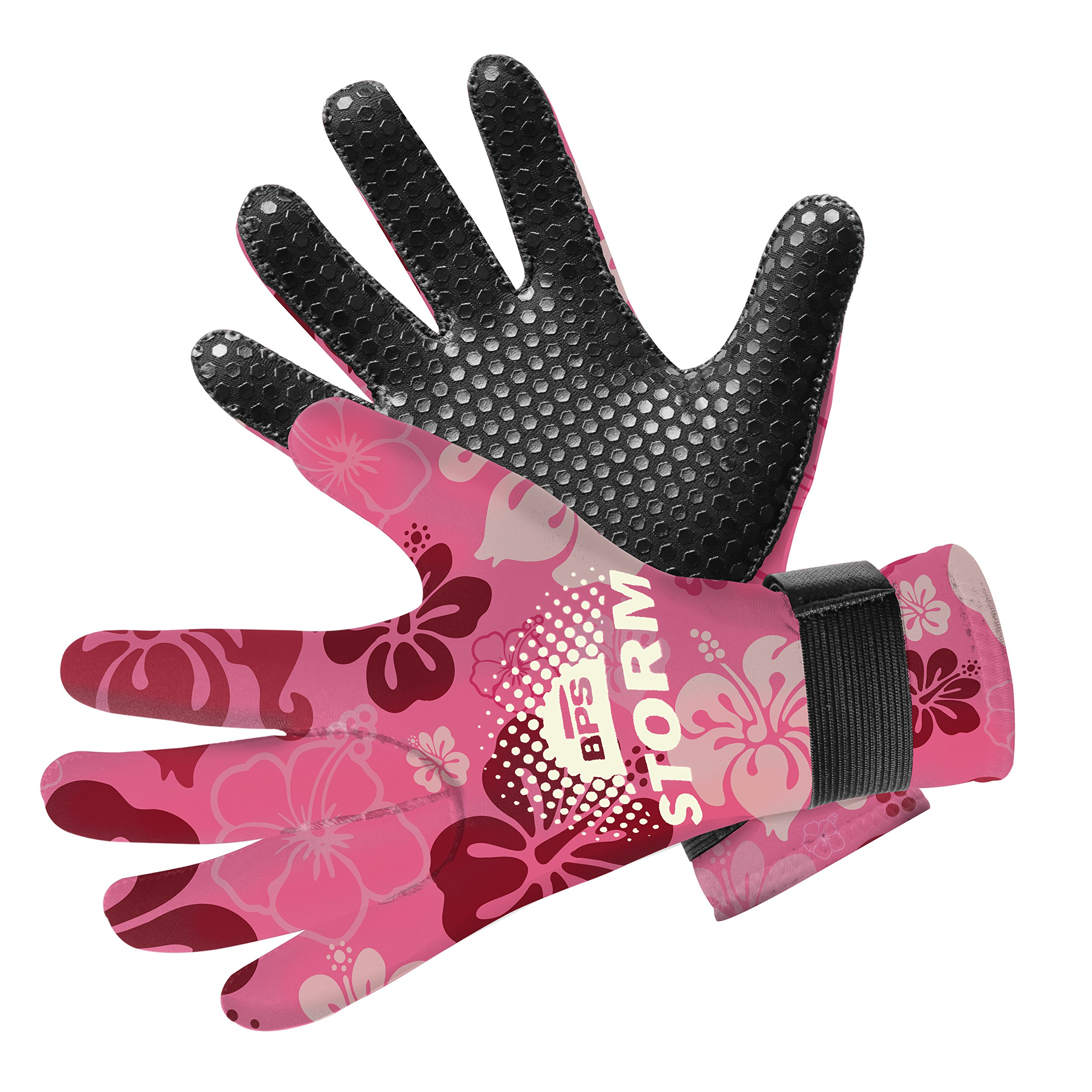 BPS Neoprene 3mm Gloves with Anti-Slip Rubber Printing - Warm and Comfortable Gloves for Water Jetski, Wakeboarding, Rafting, Surf, and Other Winter Activities - Unisex (Floral Pink/White, XX Large) by BPS
