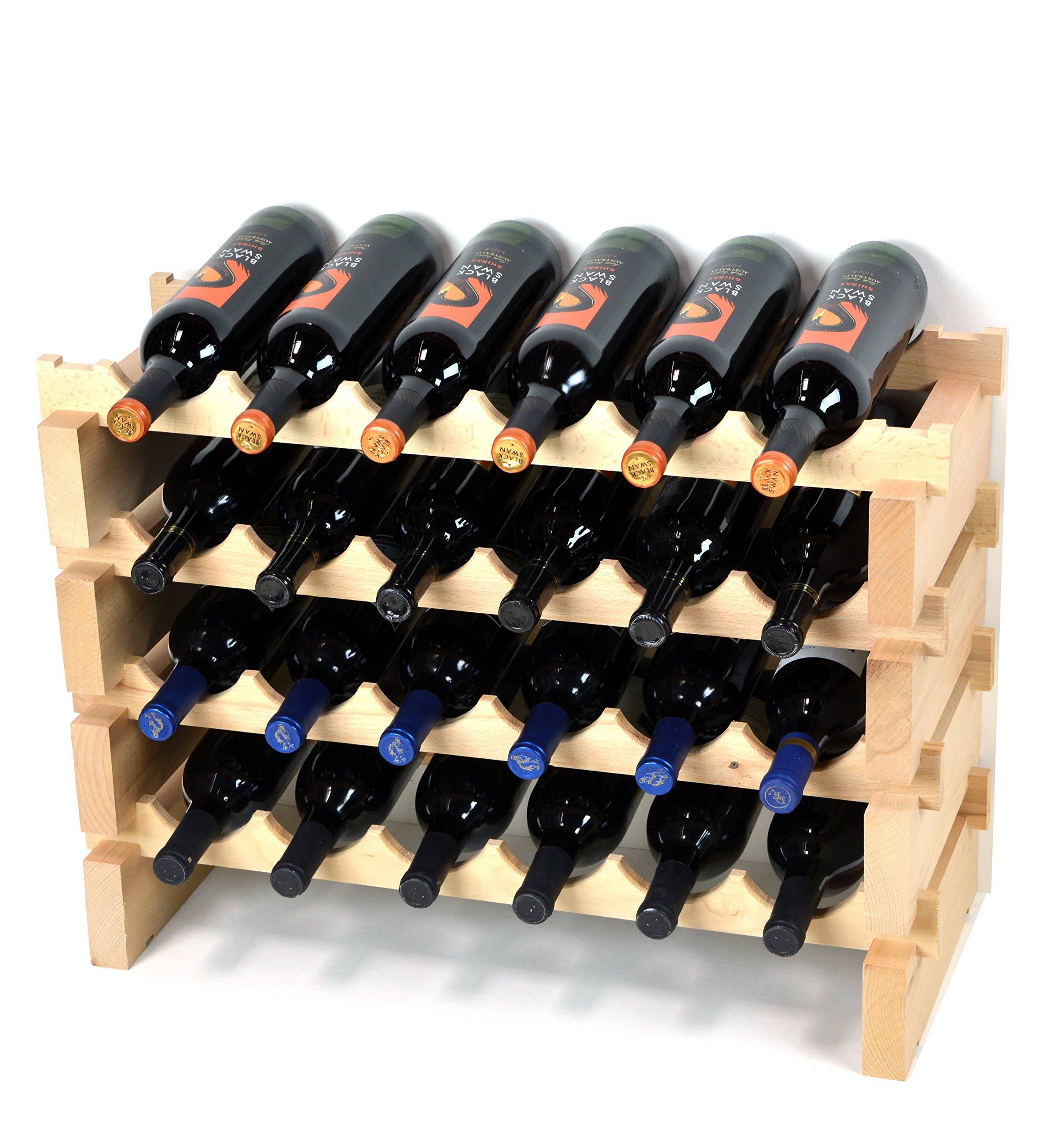 Modular Wine Rack Beechwood 24-72 Bottle Capacity 6 Bottles Across up to 12 Rows Newest Improved Model (24 Bottles - 4 Rows)