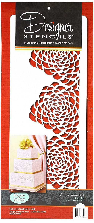 Bottom Tier Cake Stencil Beige//semi-transparent Designer Stencils C413 Camilla Rose